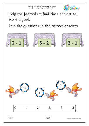 Preview of worksheet Using the subtraction sign - goals