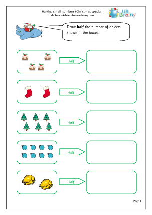 Preview of worksheet Christmas:halve small numbers