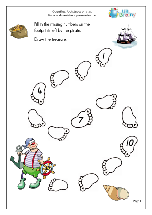 Preview of worksheet Counting over 10: footsteps