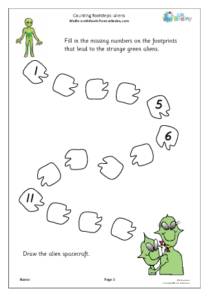Preview of worksheet Counting over 10:  alien steps