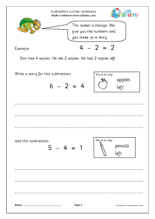 Preview of worksheet Subtraction number stories