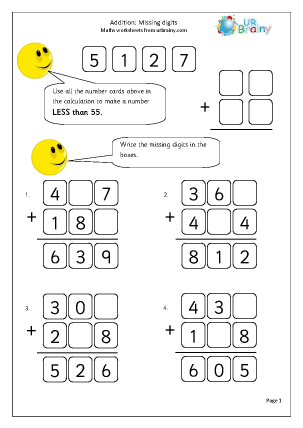 URBrainy Maths Worksheets Year 5 (age 9-10) Addition Addition: missing ...