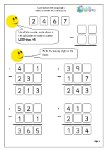 Subtraction: missing digits (1)