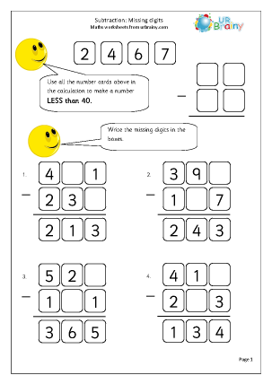 Preview of worksheet Subtraction: missing digits (1)
