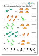 Count 2 Sets of Objects up to 10 - Dinosaurs