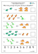 count 2 sets of objects up to 10 dinosaurs counting maths worksheets for year 1 age 5 6. Black Bedroom Furniture Sets. Home Design Ideas