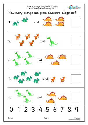 Preview of worksheet Count 2 sets of objects up to 10 - dinosaurs