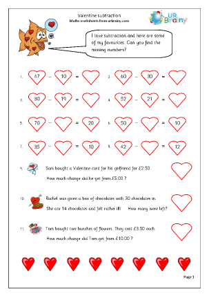 Preview of worksheet Valentine's Day: subtraction (year 3)