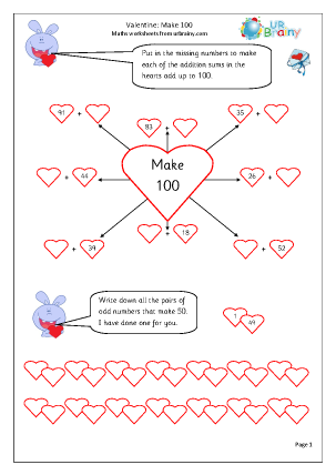 Preview of worksheet Valentine's Day:  make 100