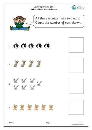 Preview of worksheet Count on in twos - ears