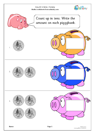 Preview of worksheet Count on in tens: piggy