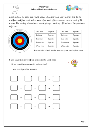 Preview of worksheet  Archery (1)