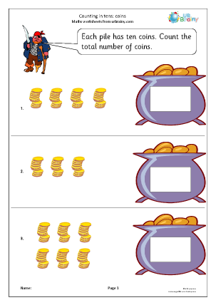 Preview of worksheet Count on in tens - coins