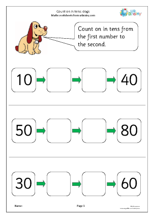 Printables Counting By Tens Worksheet counting by tens worksheet plustheapp count on in dogs maths worksheets for year 1 age 5