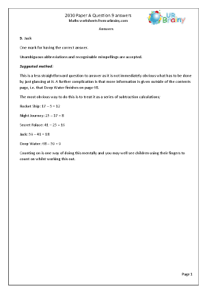 9 Answers and Suggested Method