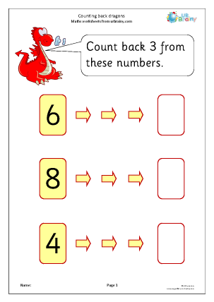 Preview of worksheet Counting back in ones: dragons
