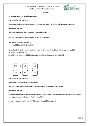 Questions 1 and 2 Answers Paper B 2011