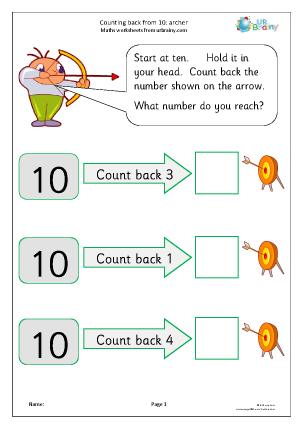 Preview of worksheet Counting back from 10: archers