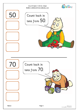 Preview of worksheet Counting back in tens: boys