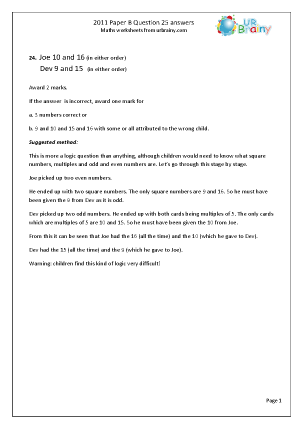 Question 25 Answers Paper B 2011