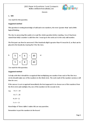 Questions 1 and 2  Answers Paper A 2011
