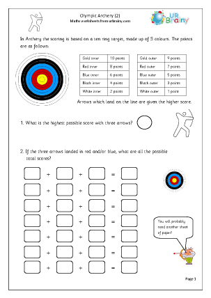 Preview of worksheet  Archery (2)