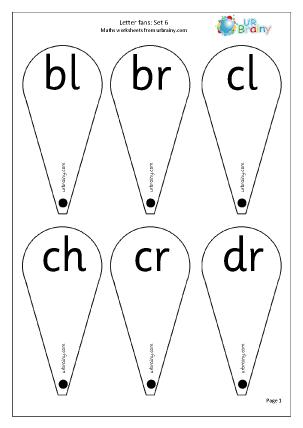 Preview of worksheet Letter Fans (Blends 1)