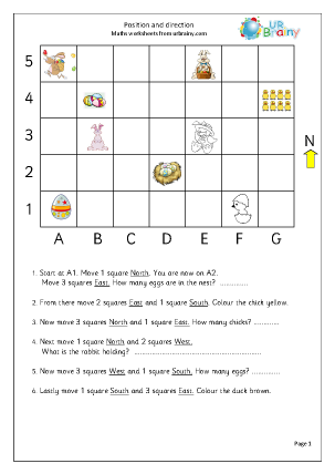 Easter: position and direction Special Occasions Maths Worksheets For ...