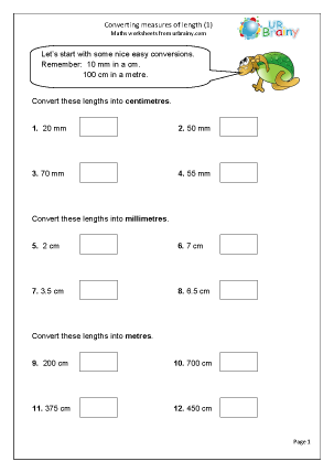 Converting measurements of length Measurement Maths Worksheets For ...