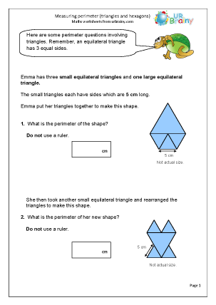 Preview of worksheet Measuring the perimeter of triangles and hexagons
