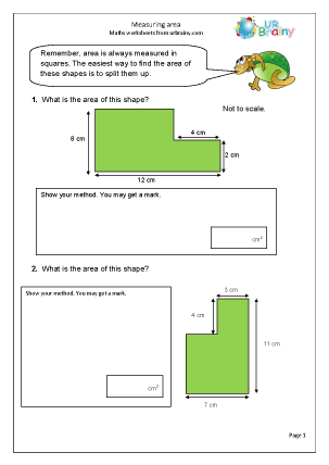 Preview of worksheet Measuring the area of shapes