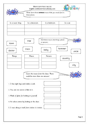 Preview of worksheet  More common nouns