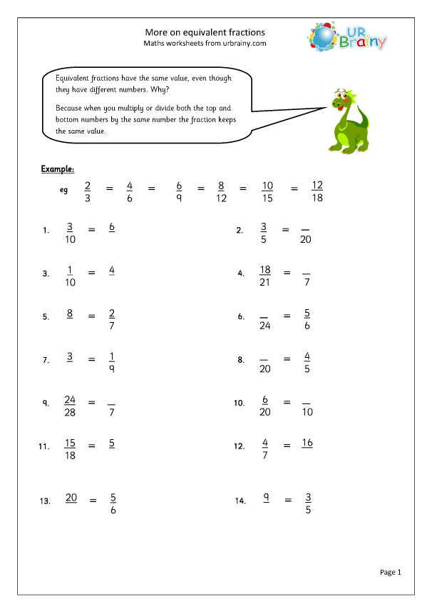 More On Equivalent Fractions Fraction And Decimal Worksheets For Year 6 Age 10 11 By Urbrainy Com