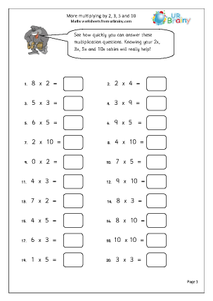 Preview of worksheet More multiplying by  2, 3, 5 and 10