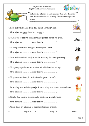 Preview of worksheet  Adjectives at the zoo