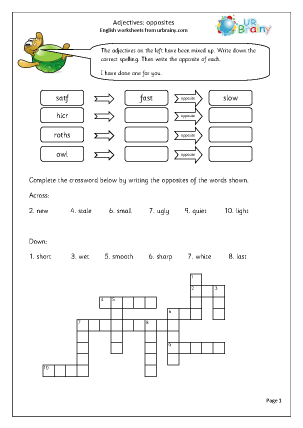 Preview of worksheet  Adjectives: opposites