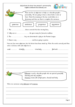 Adjectives To Describe Personality English Worksheet For