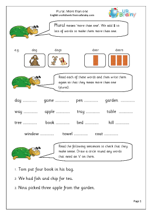 Preview of worksheet  Plural: more than one