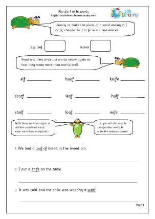 Preview of worksheet  Plurals of nouns ending in 'f' or 'fe'