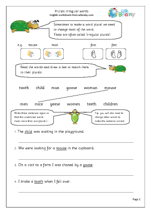 Preview of worksheet  Plurals: irregular words