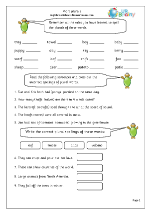 Preview of worksheet  More work on plurals