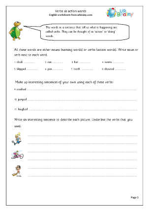 All Worksheets past and present tense worksheets ks2 : Verbs English for Grammar