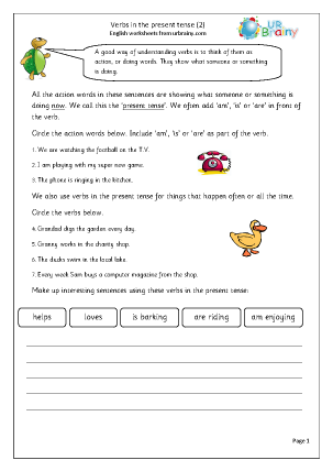 Preview of worksheet  Verbs in the present tense (2)