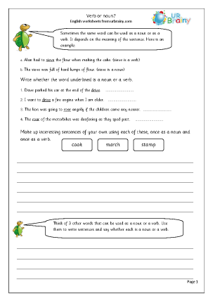 Preview of worksheet Verb or noun?