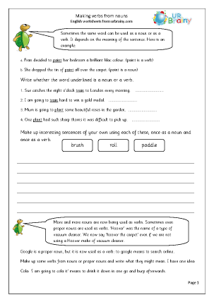 Preview of worksheet  Making verbs from nouns