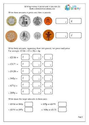 Preview of worksheet  Writing money in pence and pounds (1)