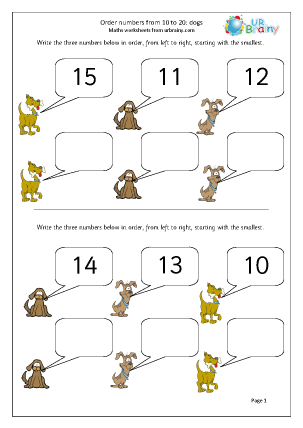 Preview of worksheet Order numbers up to 20: dogs