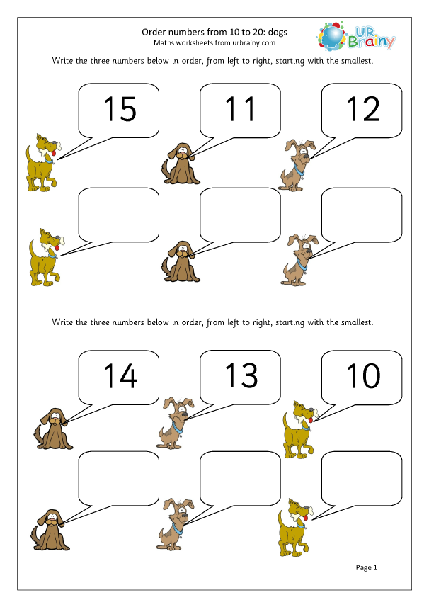Preview of 'Order numbers up to 20: dogs'