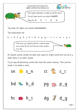 Preview of worksheet Consonants and Vowels