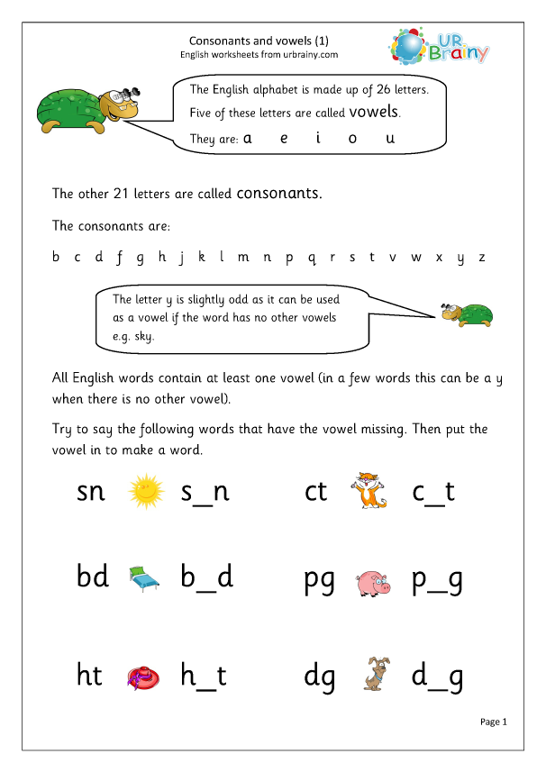 Preview of 'Consonants and Vowels '